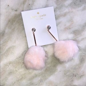 KATE SPADE FAUX FUR POM EARRINGS